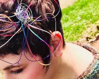 Rainbow flower Fascinator headband