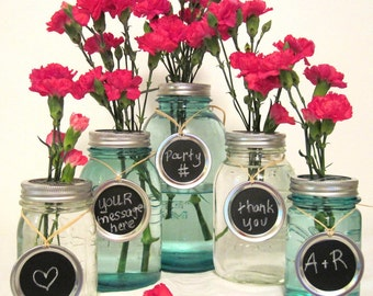 Party Chalkboard Signs Jar Tags for Wedding, Party, Centerpiece, Entertaining, Mason Jar Chalkboard Labels Only - No Jars
