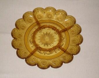 Brockway Amber Glass Concord Snack Chip & Dip Platter
