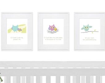 Baha'i Quote 3 print set, Owl Art, PRINTABLE art, Nursery decor, Nursery wall art, Kids art, Baby boy/girl nursery art, Baha'i Prayer print