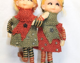 Vintage Christmas Pixie Elves Holding Hands Ornament Burlap