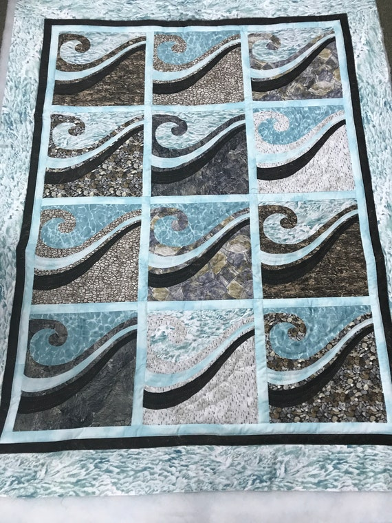 Waves at the Shore Quilt Kit  Blue Naturescapes Pebble Beach