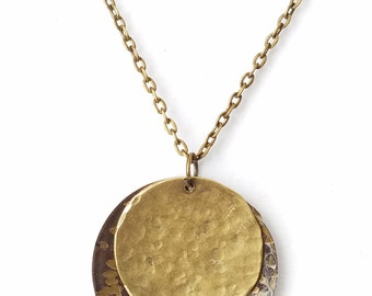 Vintage Mixed Metal hammered Necklace Silver patina pendant finished with Antiqued Brass Necklace