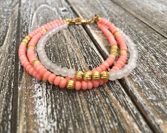 Pink Coral Gold Bracelet