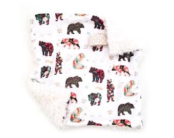 Lovey Floral Bears. Lovey. Bear Lovey. Woodland Lovey. Mini Baby Blanket. Security Blanket. Lovie. Minky Lovey.
