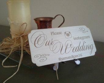 Wedding Instagram Sign, Wooden Wedding Hashtag Sign, Our Wedding Sing, Personalised Wedding Sign, Tag Our Photos, Reception Plaque
