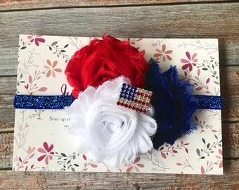 4th of July Headband, 4th of July Baby Headband, Patriotic Headband, Fourth of July, Baby Headband, Newborn Headband, Headband, Baby Bow