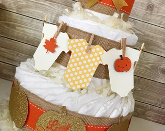 Fall Baby Shower Centerpiece, Fall Baby Shower Diaper Cake, Autumn Pumpkin Baby Shower Decorations