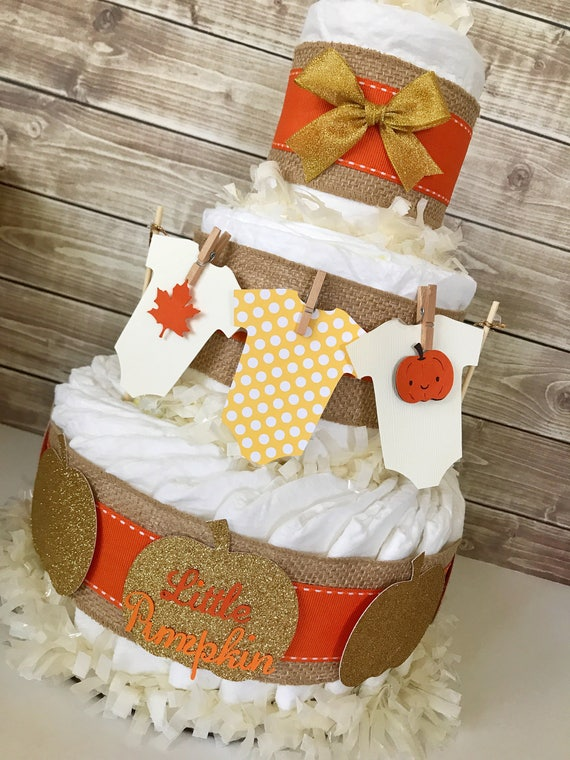 Fall baby shower centerpiece diaper cake