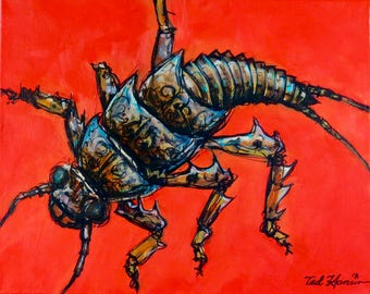 Stonefly on Red, Limited Edition Archival Print