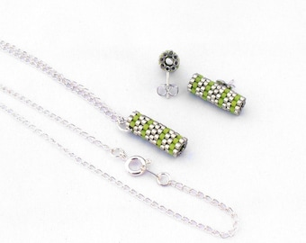 Peyote Tube Jewelry, Silver Peyote Beadwork, Modern Bridesmaid Jewelry Gift Set, Lime Stud Earrings, Minimalist Earings - Etsy UK Seller