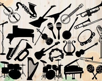 Musical Instruments Svg, Guitar, Drums, Bass, Microphone, Violin, Piano, Trumpet, Saxo and Maracas Silhouettes Svg, Dxf, Eps & Png Cutfiles,