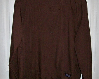Vintage Ladies Brown Uniform Snap Front Scrub Top by Cherokee Workwear Small Only 9 USD