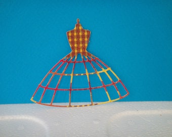 Cutout dress madras skirt for scrapbooking and card