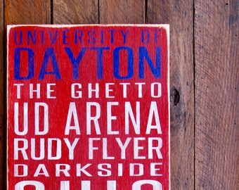 University of Dayton Flyers Distressed Wood Sign--Great Father's Day Gift!