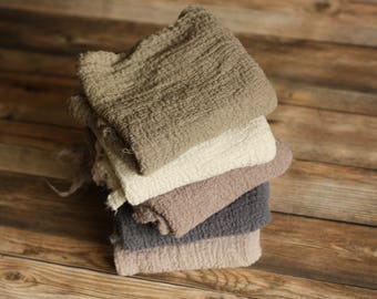 The Grays (5) - REGULAR LENGTH Premium Natural Newborn Wrap - Large Cheesecloth Wrap - Baby Wrap - Photo Prop