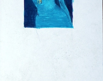 John Beaven (British, active 1940s - 1970s): Blue Lady - An original illustration artwork, for an unknown assignment , circa 1960