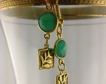Fern II: Woodland Earrings of Green Faceted Onyx dangling artisan ferns hand-made in Bali