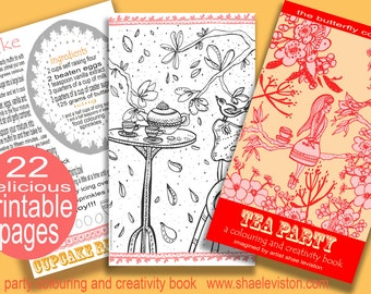 Tea Party Printable Colouring and Creativity Book