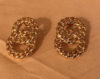 Vintage Gold Plate Knot Earrings