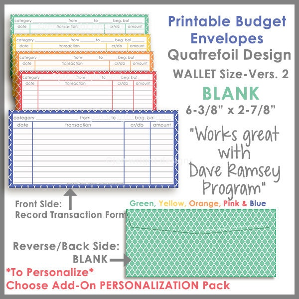 Wallet Size Printable Cash Envelope Ver Budgeting System