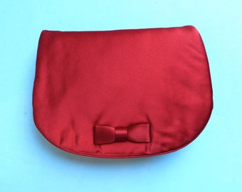 Vintage Red Satin Evening Clutch/Morris Moskowitz/Red Silk Evening Purse/1950's