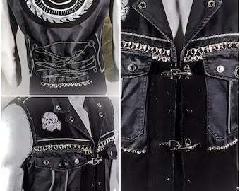 Leather and Denim Industrial Punk Biker Post Apocalyptic Vest