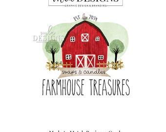 Farmhouse Barn Logo - Barn Logo, Farm Logo, Farmhouse Logo, Custom Premade Logo,  Watercolor Logo, Floral Logo, Country Farm Logo