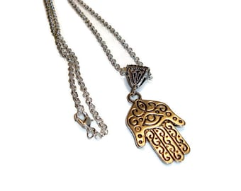 Silver Hamsa Hand Pendant on 24 Inch Chain - Ancient Design - Lost Wax Casting - Long Chain Pendant