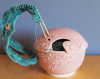 yarn bowl with scrolls in Petal