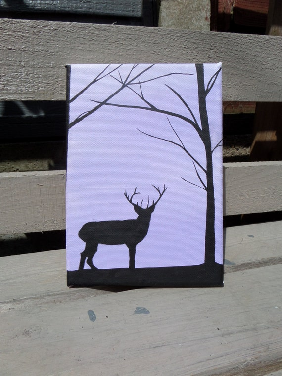 Items similar to Deer Silhouette Painting on Etsy