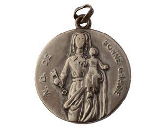 Our Lady Of La Bonne Garde & Jesus child - Large Vintage French Religious Medal Pendant - Religious Gift