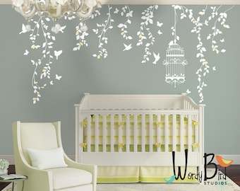 Hanging Vines Wall Decal for Baby Girl Nursery with Flowers, Birdcage, Birds and Butterflies - White Tree Branch Wall Decals - WB701