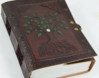 Hand-Crafted Green Leaves Tree of Life Leather Journal Diary/Instagram photo album with Handmade Paper