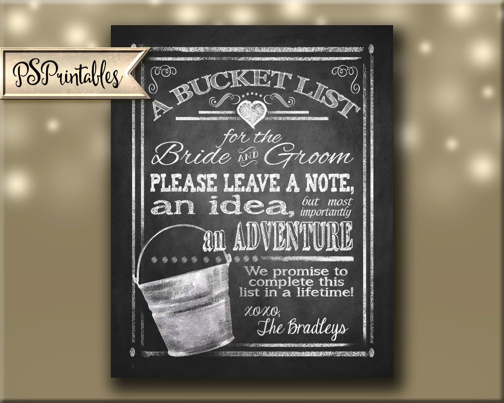 Personalized BUCKET LIST Printable File With Bride Groom