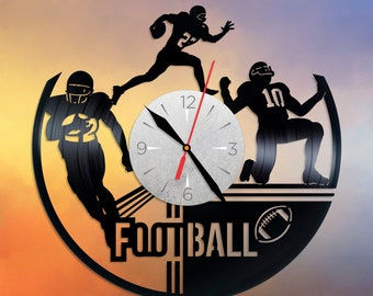 Football vinyl clock Football wall decor Kids Wall clock Gift idea Vinyl record clock