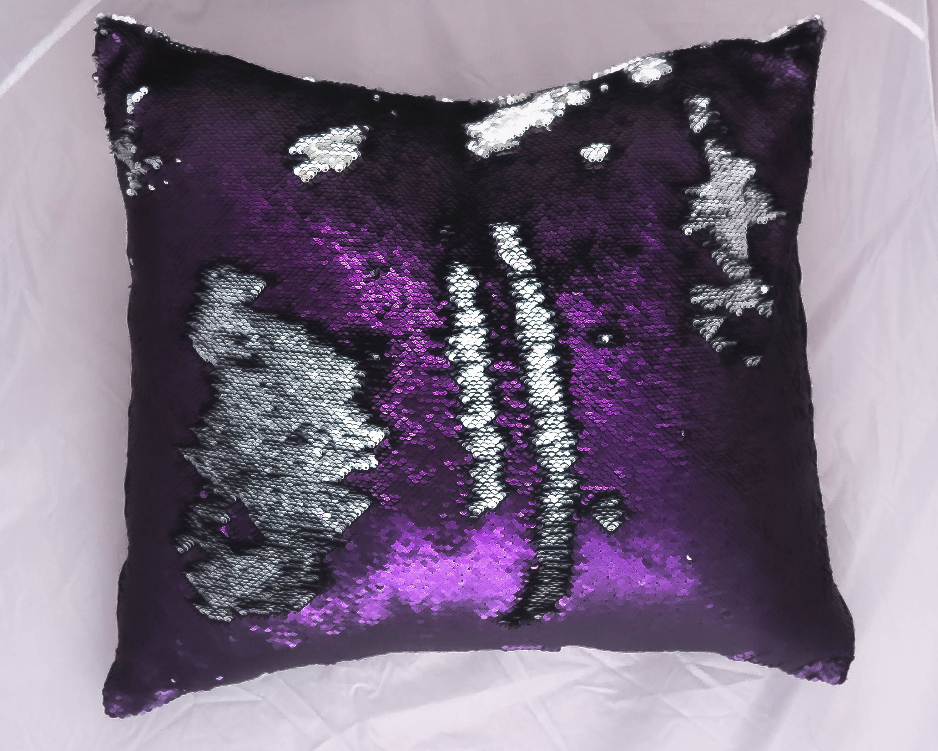 inches pillows img insert sequins mermaid products red color pillow with sequin silver anti changing