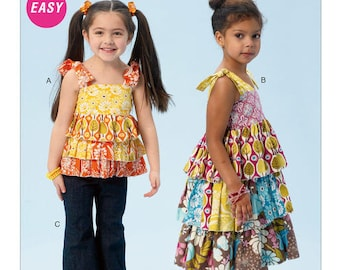 McCalls 6946 Children's/Girls' Ruffled Top, Dress and Pants Sewing Pattern, New Uncut Size 2-3-4-5, Easy Pattern