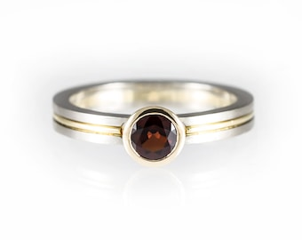 Two tone engagement ring, red stone engagement ring, red garnet ring, yellow and white gold, bezel engagement ring, alternative engagement