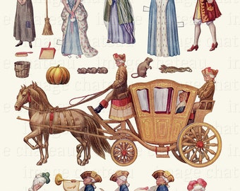 CINDERELLA Cut Out Paper Dolls DIGITAL DOWNLOAD from 1918 Fairy Godmother Coach Pumpkin & Horses Mice Handsome Prince Fairy Tale Printable