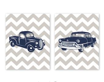 Retro Cars Wall Art, 2 print set Digital file, 11x14 inches each