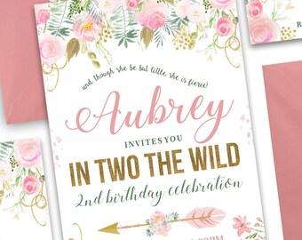 In TWO the Wild Birthday Invitation, Boho Chic Invitation, Tribal Invitation, Floral Invitation