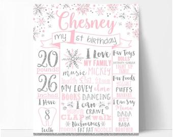 Winter onederland chalkboard sign, girl pink and silver first birthday chalkboard, winter onederland birthday poster,printable