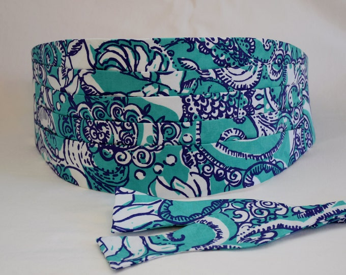 Cummerbund & Bow Tie, teal/indigo/white Montauk Beach Lilly print, formal wedding party attire, tuxedo accessory, custom prom cummerbund