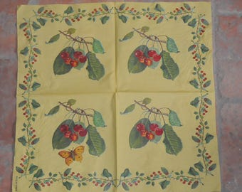 """fruits and vegetables """"cherries"""" themed paper napkin"""