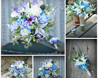 Rustic Wildflower wedding  Package 12 pieces custom made to order