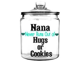Nana cookie jar, grandma cookie jar, glass 1 gallon jar, cookie jar, personalized cookie jar, custom cookie jar, goodie jars, glass canister