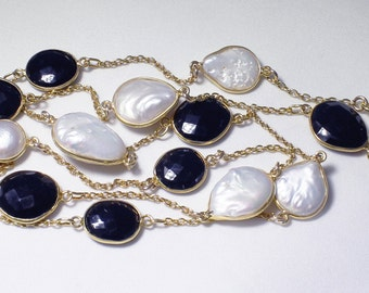 """Baroque Pearl Necklace Black Spinel Necklace June Birthstone Necklace Genuine Pearl Necklace """"Gatsby-inspired"""" Black & White BZ-N-104-PS"""