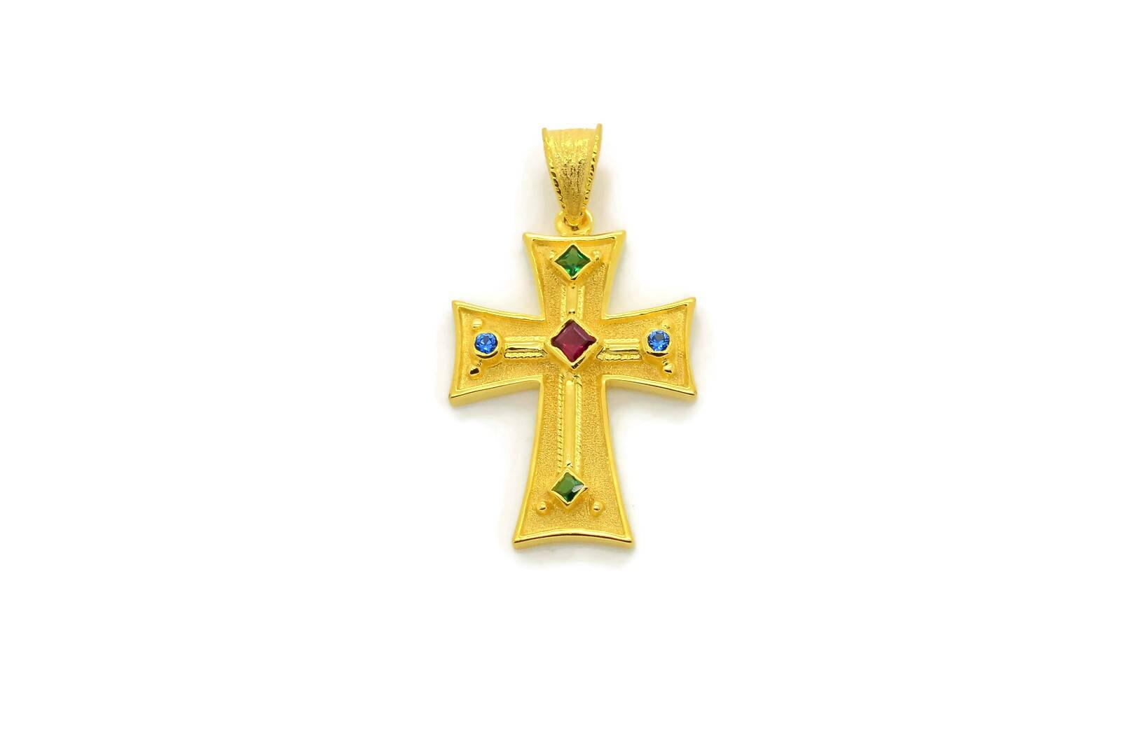 Greek cross multi stone cross orthodox cross 14k gold zoom mozeypictures Choice Image