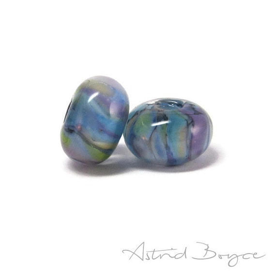 Watercolor Wash Artisan Lampwork Glass Blue Green Bead Pair Self Representing Artist SRA B195  glass spacer beads impressionist glass batik